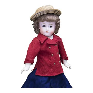 """21 1/2"""" Very Pretty Antique German Bisque  Closed Mouth Doll, size 14, by Kestner, in original clothes"""
