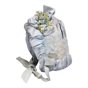 "Antique French Original Aqua Silk Satin Bonnet for Jumeau Bru Steiner Gaultier Eden bebe doll about 20-21"" tall"