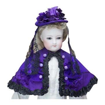 Antique French Original  Royal Purple Silk Set  the Cape and Hat  for Fashion doll Huret Jumeau  Barrois Gaultier, c.1870