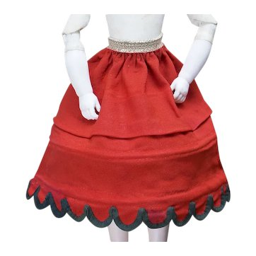 """Antique Original French Stunning Early Red Wool Hoop Skirt Crinoline for fashion doll 17-18"""", c.1860"""