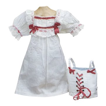 """Antique French Factory Original Jumeau Chemise and Corset for bebe doll 23-24"""" (53-61cm)"""