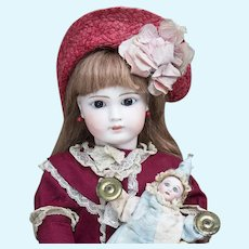 22 (56cm) Antique German Sonneberg Bisque Doll in Original Dress, model 117, by Mystery Maker, for French market, c. 1885