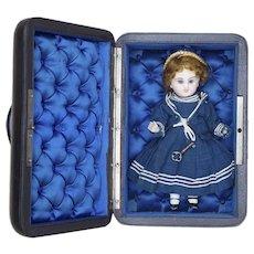 "6 1/4"" (16cm) Very Rare Small  Antique French Bisque Paris Bebe  Mignonette size 0 by Emile Jumeau in Original costume, Presentation box"