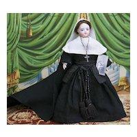 "11"" (28cm) Antique French All Original Fashion Gaultier Doll in Nun Costume, c.1880"