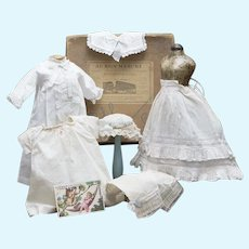 """Antique French Original Lot of Hand-Stitches Doll Costumes with aqua silk ribbons in Au Bon Marche box and trade card for fashion doll 17-18"""""""