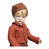 17 in (43cm) Rare Antique Italian All Original Felt Character Boy Doll by Lenci, 300 Series, in School Uniform