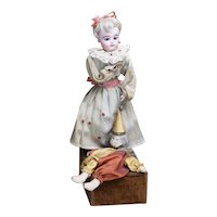 "15"" (38cm) Rare Antique French Musical Automaton Gaultier Doll with Polichinelle by Renou, c.1900"