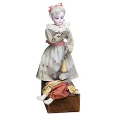 """15"""" (38cm) Rare Antique French Musical Automaton Gaultier Doll with Polichinelle by Renou, c.1900"""