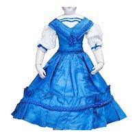 "Antique French Original Enfantine Blue Silk Dress for Fashion Doll Huret Rohmer Gaultier Barrois  Jumeau Bru 17-18"" tall"