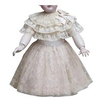 "Antique French Original Lace & Flannel dress for Jumeau Bru Steiner Eden Bebe and other french doll 25-26"" tall"