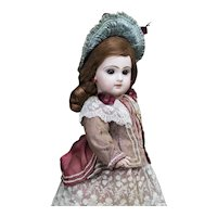 "15"" (38 cm) Antique French Bisque Brow-Eyed Jumeau Bebe Doll with Closed Mouth,  Size 6, c.1885"