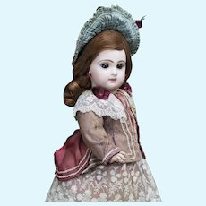 """15"""" (38 cm) Antique French Bisque Brow-Eyed Jumeau Bebe Doll with Closed Mouth,  Size 6, c.1885"""