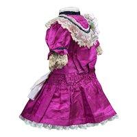 "Antique Original Magenta Silk Dress for Jumeau Bru Gaultier E.J. Steiner Eden Bebe Doll 22-23"" tall (55-59cm)"