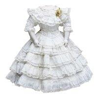 "Antique French Original Summer White Dress for Fashion Doll Huret Rohmer Jumeau Bru Gaultier Barrois 17-18"", c.1880"