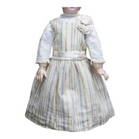 """Antique French Original  Woolen Stripped Dress and Pique Blouse for Jumeau Bru Steiner  Gaultier Eden Bebe or Early German doll 26-27"""" (65-68cm)"""