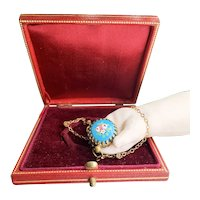 Antique French Blue Doll Size Watch with Chain for Fashion poupee in Presentation Box, c.1870