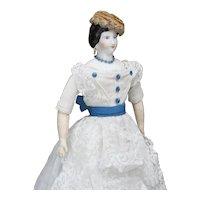 """15"""" (38cm) Antique Porcelain German Doll in Original dress"""
