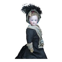 """11"""" (28cm) Antique All original Petite French  Fashion Tiny Bisque Poupee Doll  by Gaultier in Original Costume"""