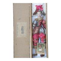 "21"" (44cm) Antique French Papier Mache Polichinelle Doll in Original Costume, Au Bon Marche Box and Trade card"