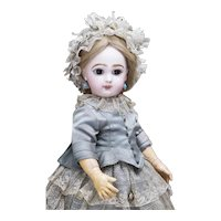 """17"""" Rare Antique French All Original Walking L'Intrepide Bebe Doll by Emile Jumeau, Keywing Mechanism by Lambert"""