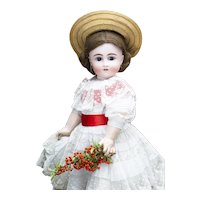 """26"""" (66cm) Splendid Antique German Bisque Closed Mouth Doll, model 103, by Kestner with Antique dress and Hat"""