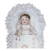 """10"""" (25cm) Antique German All Bisque Large Character Baby Doll, 150, by Hertel and Schwab, all Original, with sheep toy"""