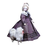 """14"""" (35cm) Antique French All original Bisque Fashion Poupee Doll by Gaultier with Wooden Articulated Body"""