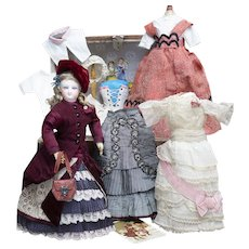 """12 1/2"""" (32cm) Antique French Bisque Smiling Fashion Doll by Leon Casimir Bru with Trousseau, Rare Tiny Size"""