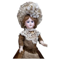 """17"""" (43cm) Antique French Bisque Thuillier Bebe Doll, Verdier & Gutmacher period,  deposed Gesland body^ original dress"""