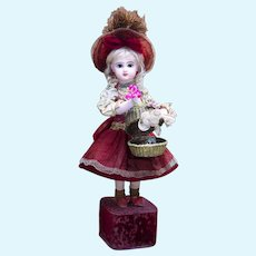 """20"""" (51 cm.)  Antique French All Original Musical Automaton Jumeau Bebe doll with Surprise in Basket by Leopold Lambert"""