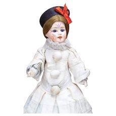 """14 1/2""""  Antique French All Original Papier Mache  Polichinelle Doll Fleischmann & Blodel, c.1890."""