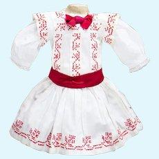 "Antique French Original Pinafore Dress  for Jumeau Bru Steiner Eden Bebe , other doll 18-19"""