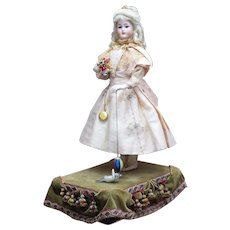 """25"""" Antique Large All-Original French Musical Automaton Doll with kitten by Leopold Lambert"""