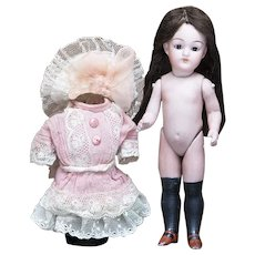 """7"""" (18 cm)  Antique German All-Bisque Black Stocking Doll, 890, by Simon & Halbig"""