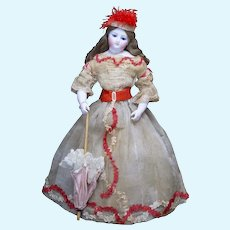 17 (43cm) Antique French Fashion Doll with Bisque Hands  and Rare Dimier mark in Original Gown
