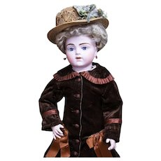 """22"""" (56 cm.) Antique French Bisque Walking Bebe by Maison Bru Jne R with Superb Costume"""