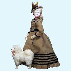 """17 1/2"""" (45cm)  Antique All Original Poupee Fashion Doll from Aux Amis de L'Enfance  in Original costume, c.1860"""