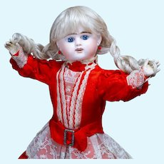 Antique French Bisque Etienne Denamur Bebe Doll  size 6 Depose in Original Dress, c.1890