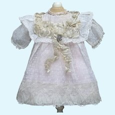 Antique French Original  Batiste Dress for Tiny Jumeau Bru Steiner  Gaultier Eden Bebe or Early German doll 12-13in