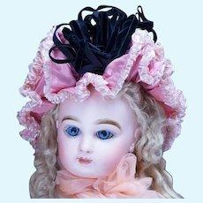 "Antique Original French Pink Silk Bonnet  Hat for Jumeau Bru Steiner Eden Bebe Doll about 16-17"""