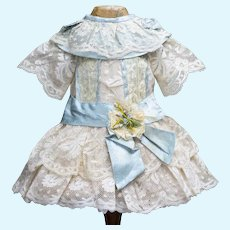 """Antique French Original Lace & Aqua silk dress for Jumeau Bru Steiner Eden Bebe and other french doll 17-18"""""""