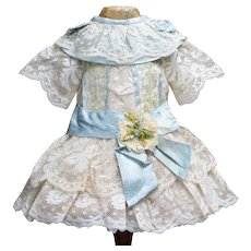 Antique French Original Lace & Aqua silk dress for Jumeau Bru Steiner Eden Bebe and other french doll 17-18""