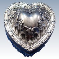Antique Whiting Heart Shaped Cut Glass Dresser Box with Sterling Lid