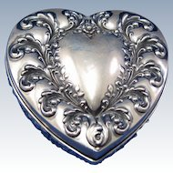 Antique Whiting Sterling and  American Brilliant Cut Glass Heart Shaped Dresser Vanity Box