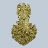 Antique Large Sheath of Wheat Brass Desk, Paper Clip, Registry Mark C-1844
