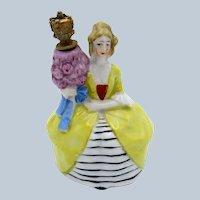 Antique Sitzendorf Porcelain Crown Top Perfume Scent Bottle