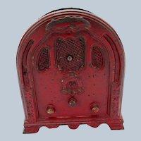 Antique Crosley Radio Cast Iron Bank by Kenton Toys, Original RED Paint