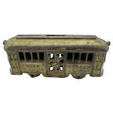 Antique A C Williams Main Street Trolley Cast Iron Bank, Wheels