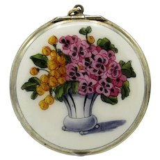 Antique Sterling And Enamel Compact with Flowers