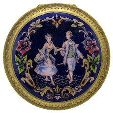 Antique Enamel Compact with Couple and Cobalt Lid